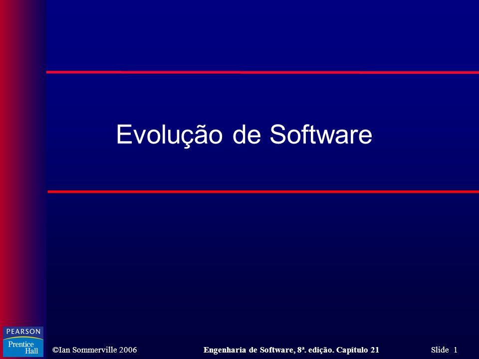 ©Ian Sommerville 2006Engenharia de Software, 8ª. edição. Capítulo 21 Slide 1 Evolução de Software
