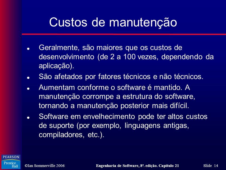 ©Ian Sommerville 2006Engenharia de Software, 8ª. edição. Capítulo 21 Slide 14 l Geralmente, são maiores que os custos de desenvolvimento (de 2 a 100 v