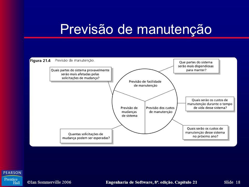 ©Ian Sommerville 2006Engenharia de Software, 8ª. edição. Capítulo 21 Slide 18 Previsão de manutenção