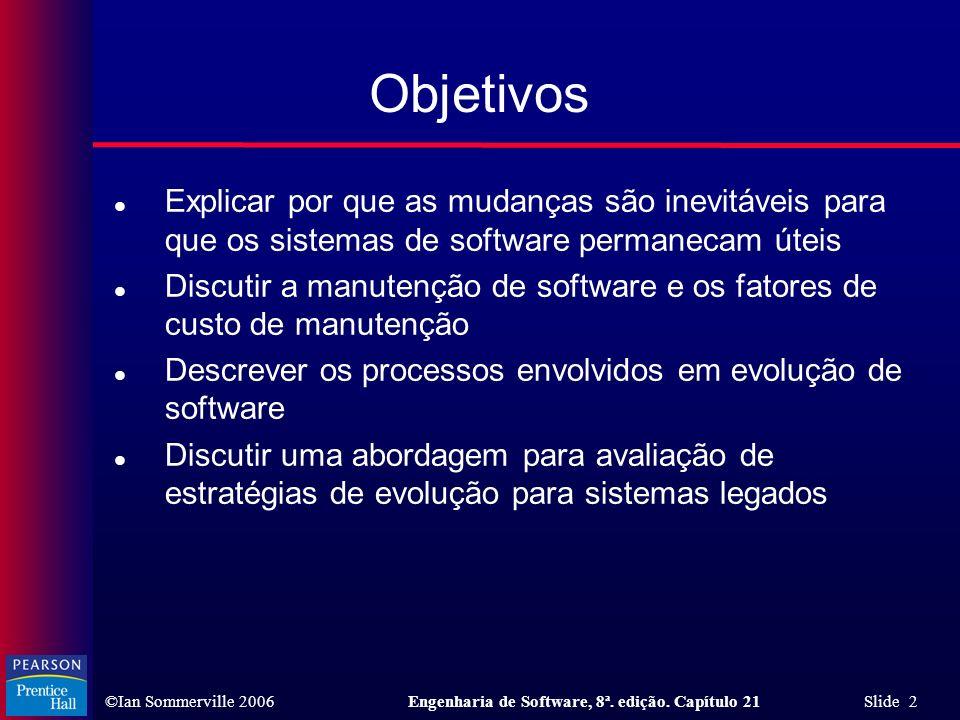 ©Ian Sommerville 2006Engenharia de Software, 8ª. edição. Capítulo 21 Slide 2 Objetivos l Explicar por que as mudanças são inevitáveis para que os sist