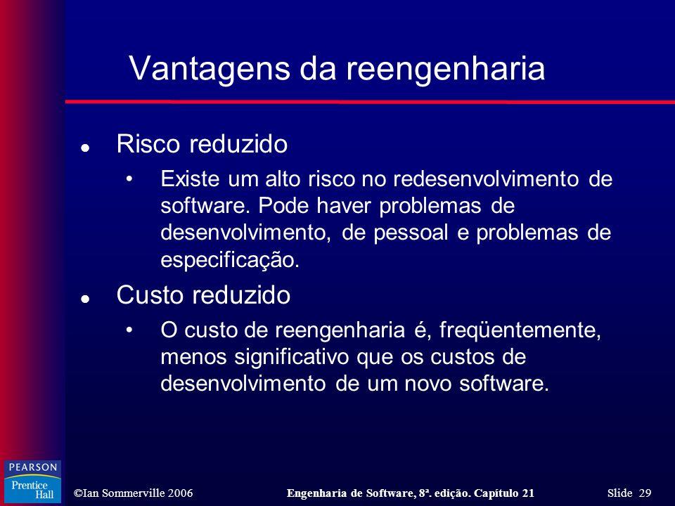 ©Ian Sommerville 2006Engenharia de Software, 8ª. edição. Capítulo 21 Slide 29 Vantagens da reengenharia l Risco reduzido Existe um alto risco no redes