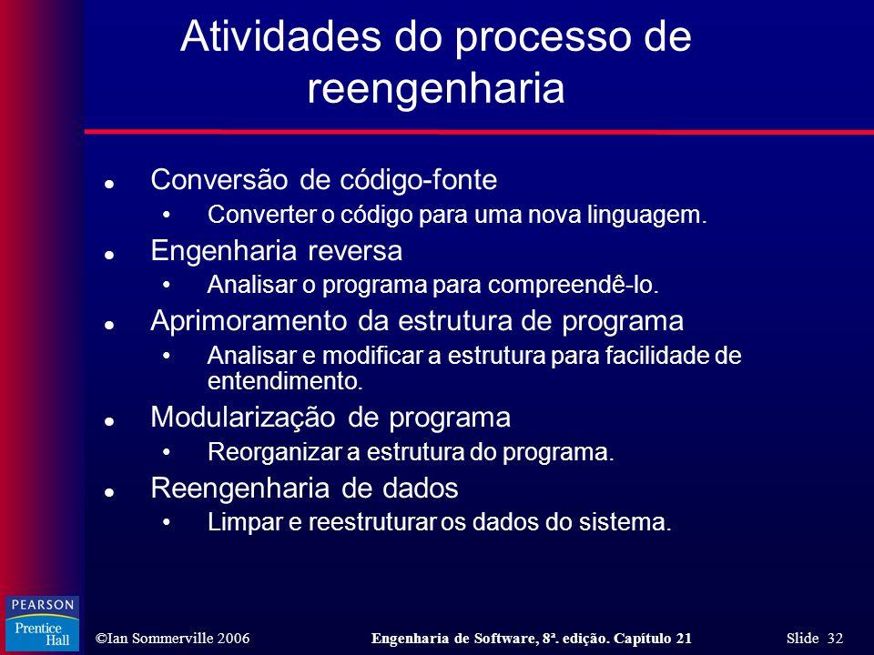©Ian Sommerville 2006Engenharia de Software, 8ª. edição. Capítulo 21 Slide 32 Atividades do processo de reengenharia l Conversão de código-fonte Conve
