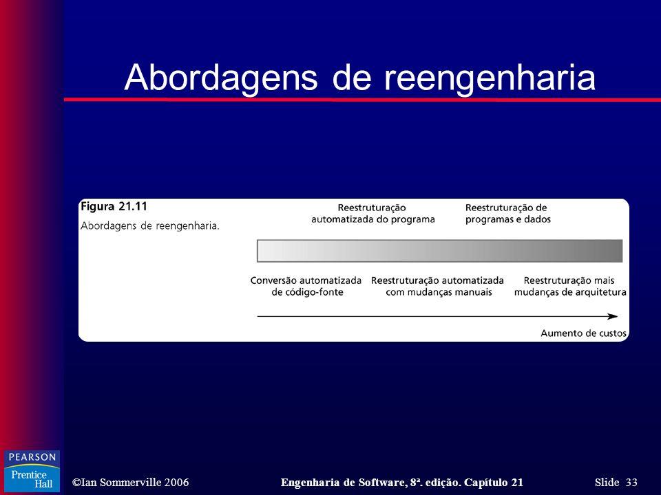 ©Ian Sommerville 2006Engenharia de Software, 8ª. edição. Capítulo 21 Slide 33 Abordagens de reengenharia