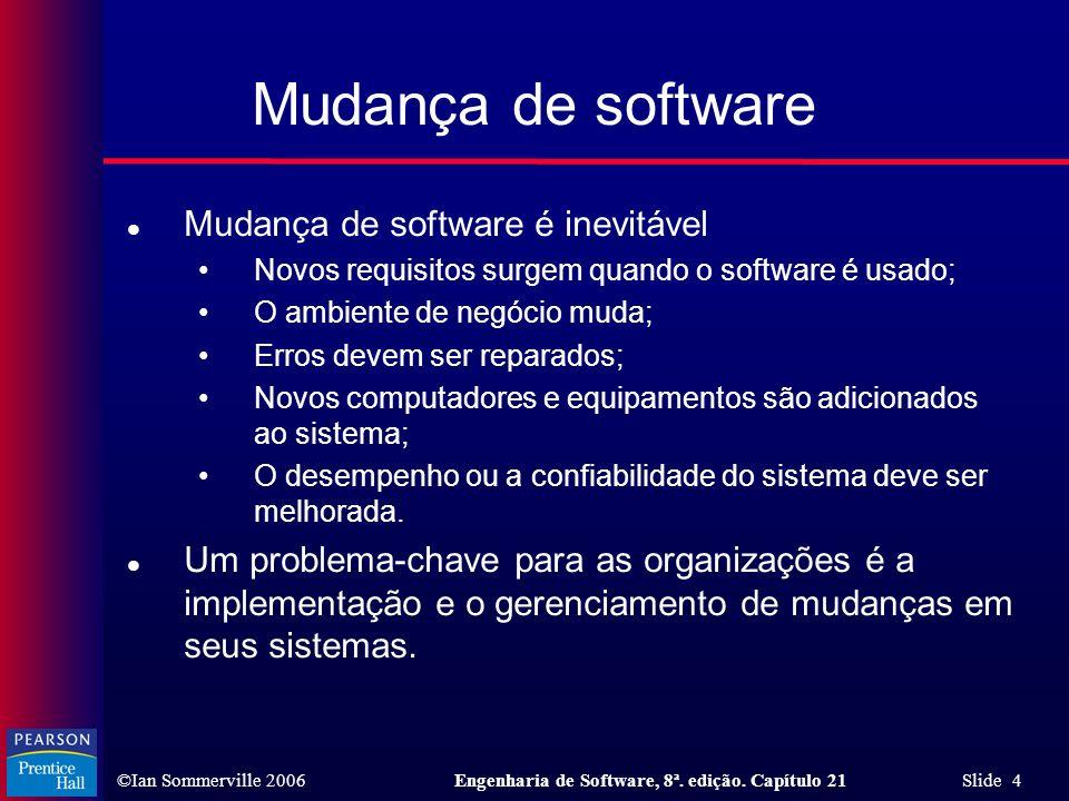 ©Ian Sommerville 2006Engenharia de Software, 8ª. edição. Capítulo 21 Slide 4 Mudança de software l Mudança de software é inevitável Novos requisitos s