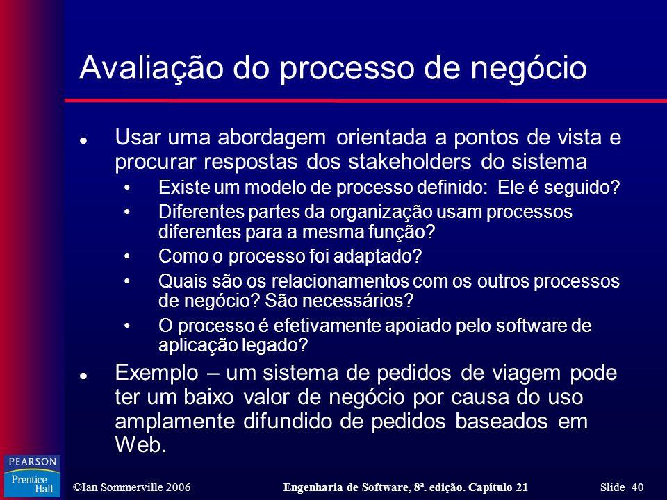 ©Ian Sommerville 2006Engenharia de Software, 8ª. edição. Capítulo 21 Slide 40 Avaliação do processo de negócio l Usar uma abordagem orientada a pontos