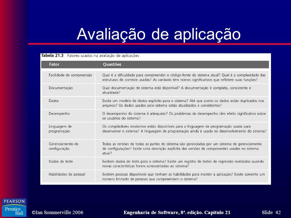 ©Ian Sommerville 2006Engenharia de Software, 8ª. edição. Capítulo 21 Slide 42 Avaliação de aplicação