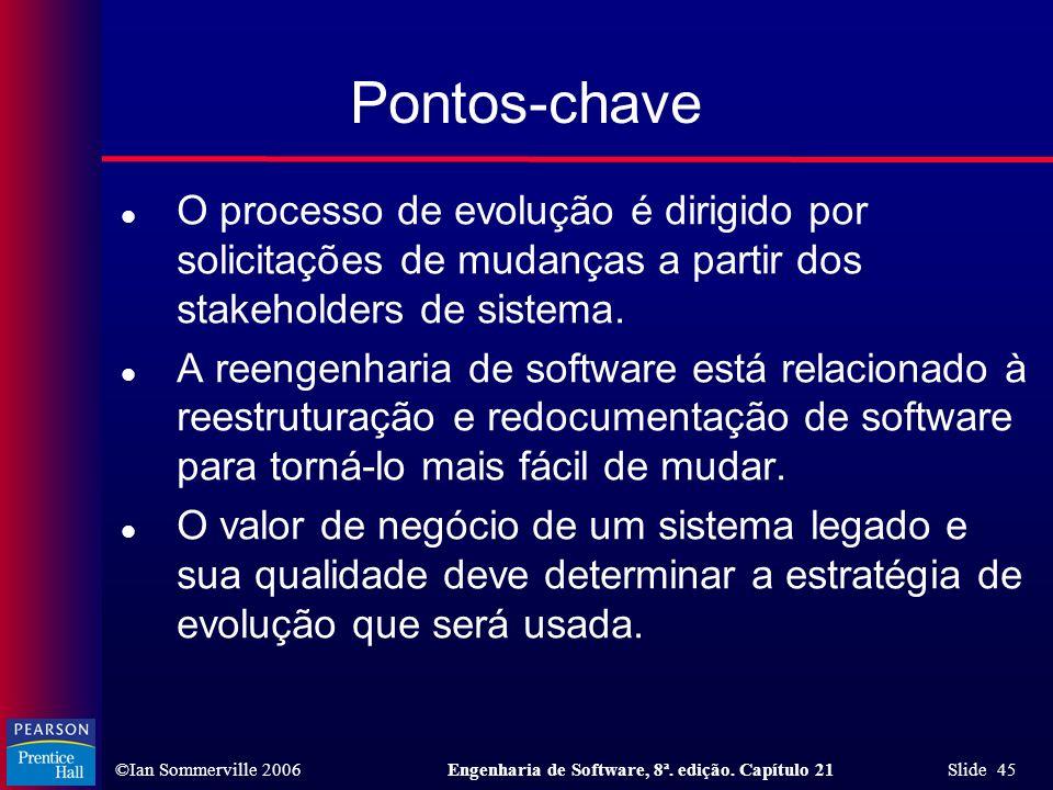 ©Ian Sommerville 2006Engenharia de Software, 8ª. edição. Capítulo 21 Slide 45 Pontos-chave l O processo de evolução é dirigido por solicitações de mud