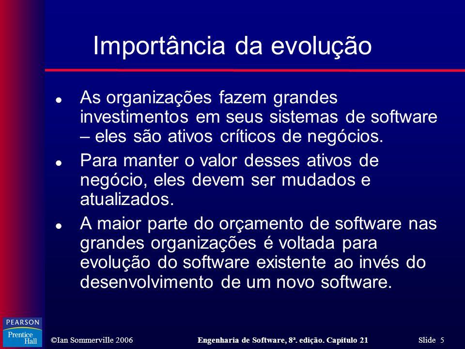 ©Ian Sommerville 2006Engenharia de Software, 8ª. edição. Capítulo 21 Slide 5 Importância da evolução l As organizações fazem grandes investimentos em