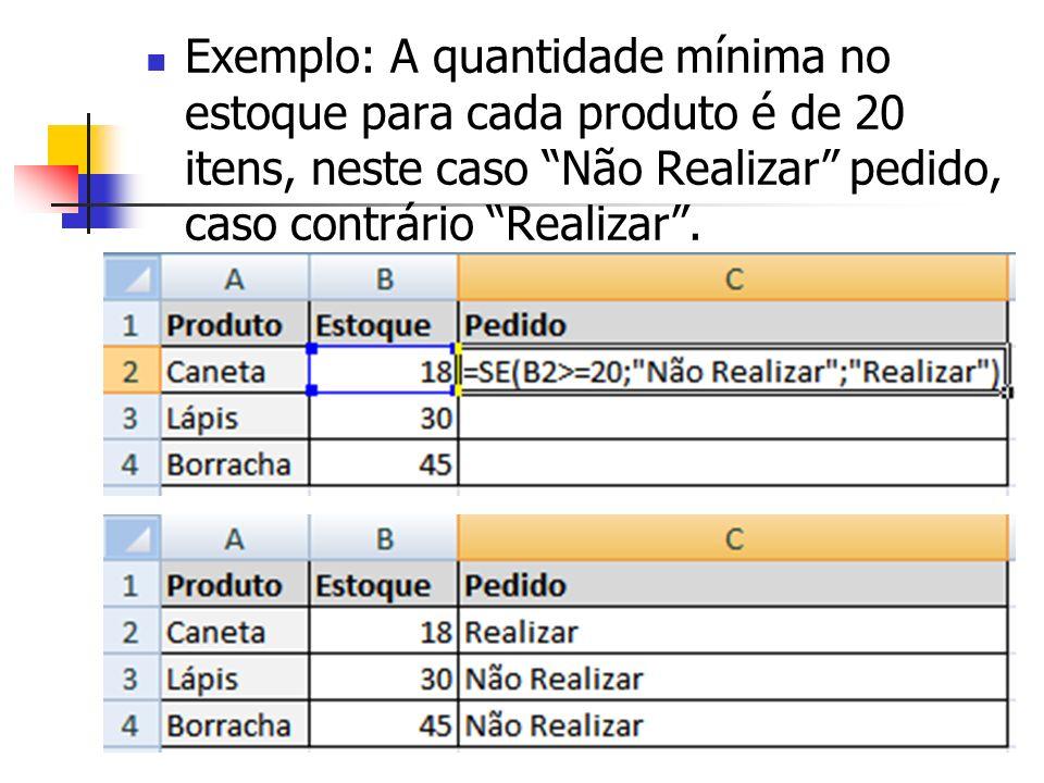 Exemplo: A quantidade mínima no estoque para cada produto é de 20 itens, neste caso Não Realizar pedido, caso contrário Realizar.