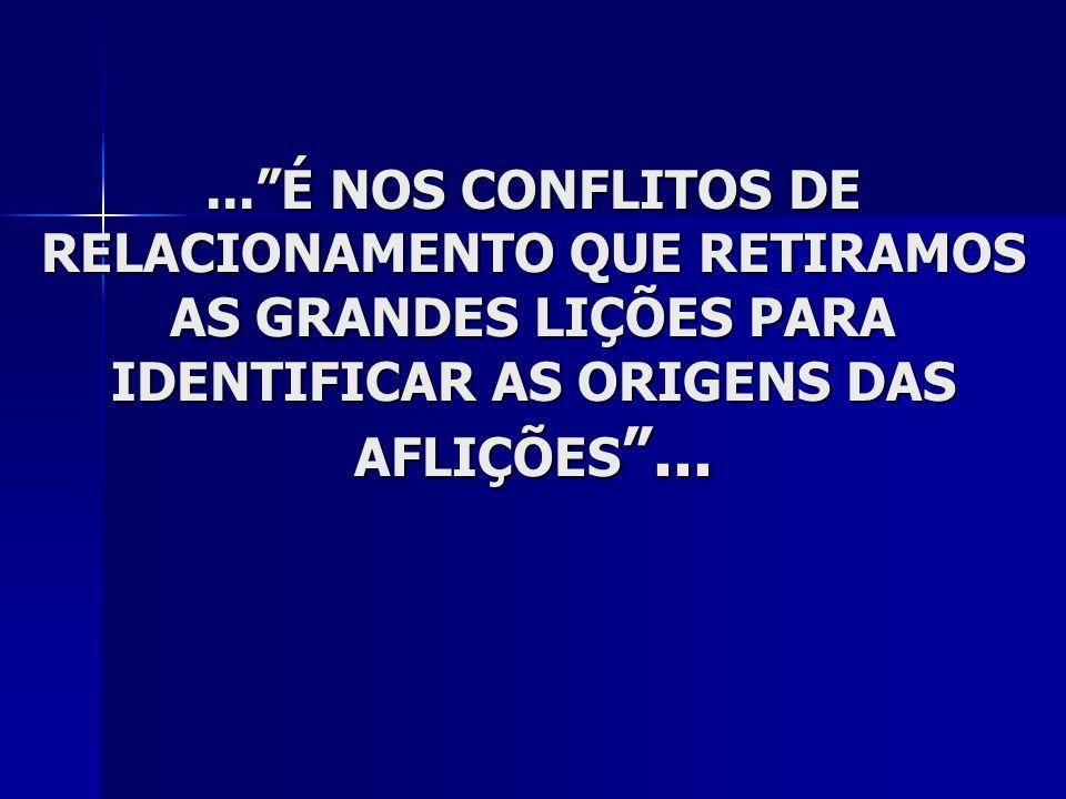 ...É NOS CONFLITOS DE RELACIONAMENTO QUE RETIRAMOS AS GRANDES LIÇÕES PARA IDENTIFICAR AS ORIGENS DAS AFLIÇÕES...