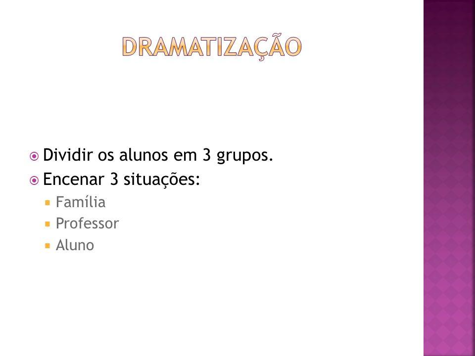 Dividir os alunos em 3 grupos. Encenar 3 situações: Família Professor Aluno