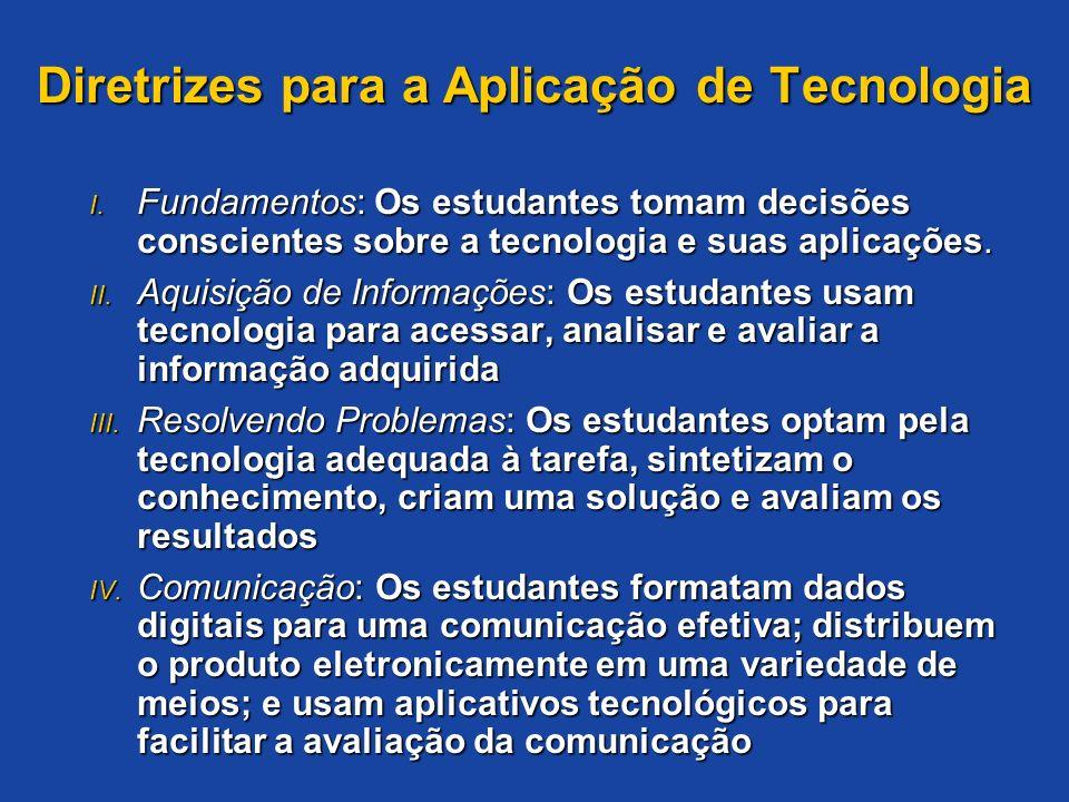 Diretrizes para a Aplicação de Tecnologia I. Fundamentos: Os estudantes tomam decisões conscientes sobre a tecnologia e suas aplicações. II. Aquisição