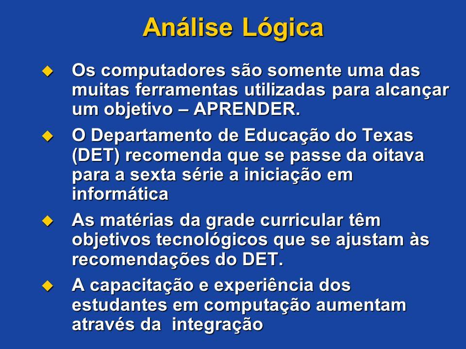 Análise Lógica Os computadores são somente uma das muitas ferramentas utilizadas para alcançar um objetivo – APRENDER. Os computadores são somente uma
