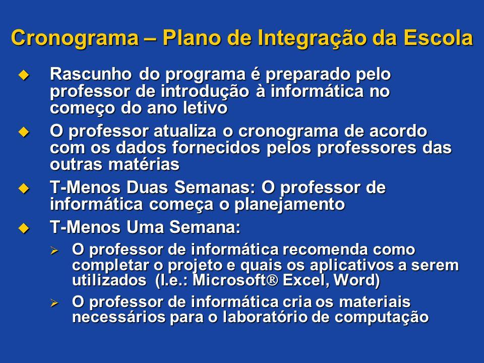 Cronograma – Plano de Integração da Escola Rascunho do programa é preparado pelo professor de introdução à informática no começo do ano letivo Rascunh
