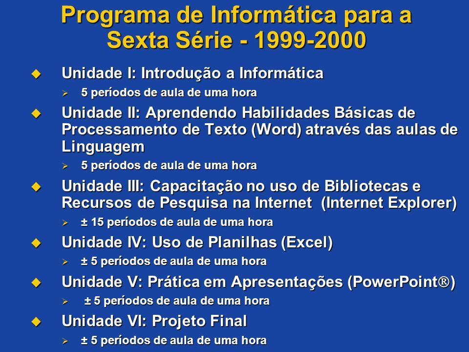 Programa de Informática para a Sexta Série - 1999-2000 Unidade I: Introdução a Informática Unidade I: Introdução a Informática 5 períodos de aula de u