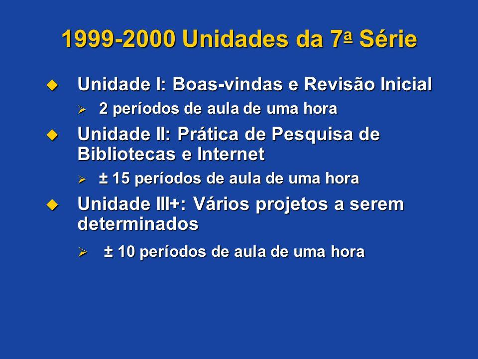 1999-2000 Unidades da 7 a Série Unidade I: Boas-vindas e Revisão Inicial Unidade I: Boas-vindas e Revisão Inicial 2 períodos de aula de uma hora 2 per
