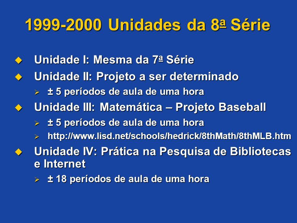 Unidade I: Mesma da 7 a Série Unidade I: Mesma da 7 a Série Unidade II: Projeto a ser determinado Unidade II: Projeto a ser determinado ± 5 períodos d