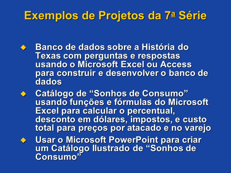 Exemplos de Projetos da 7 a Série Banco de dados sobre a História do Texas com perguntas e respostas usando o Microsoft Excel ou Access para construir