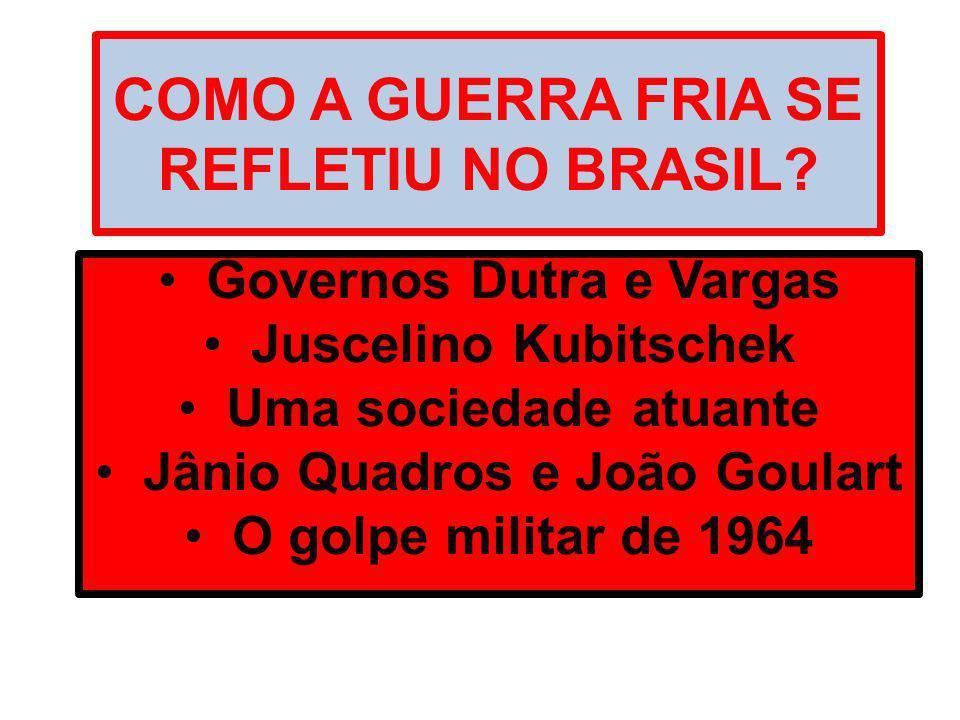 A REPÚBLICA LIBERAL – POPULISTA (1946 – 1964): Eurico Dutra – PSD (1946 – 1950): Eleito com o apoio do PTB e de Getúlio Vargas: Ele disse: para presidente vote Dutra.