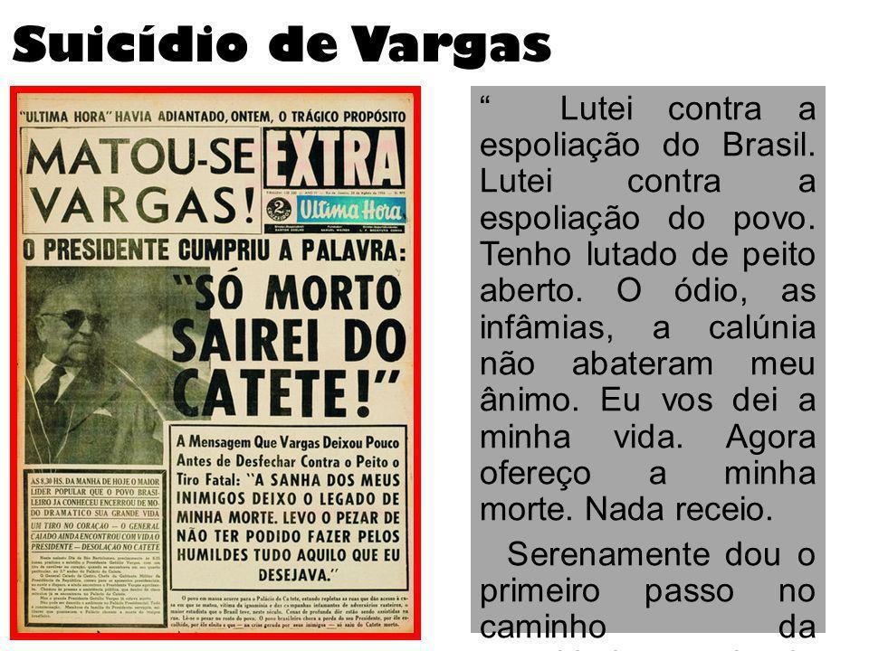Suicídio de Vargas Lutei contra a espoliação do Brasil. Lutei contra a espoliação do povo. Tenho lutado de peito aberto. O ódio, as infâmias, a calúni
