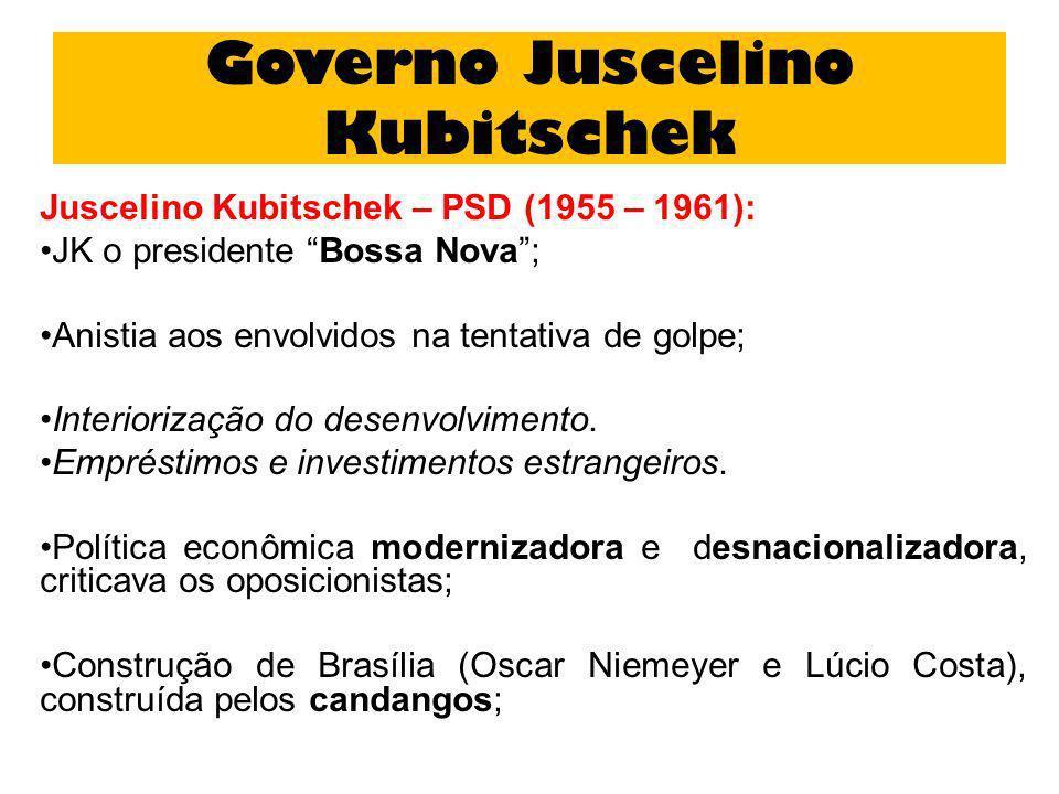 Governo Juscelino Kubitschek Juscelino Kubitschek – PSD (1955 – 1961): JK o presidente Bossa Nova; Anistia aos envolvidos na tentativa de golpe; Inter