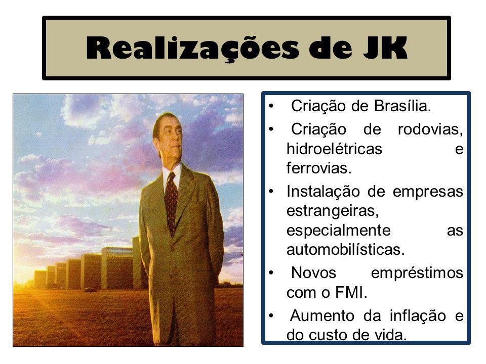 Realizações de JK Criação de Brasília. Criação de rodovias, hidroelétricas e ferrovias. Instalação de empresas estrangeiras, especialmente as automobi