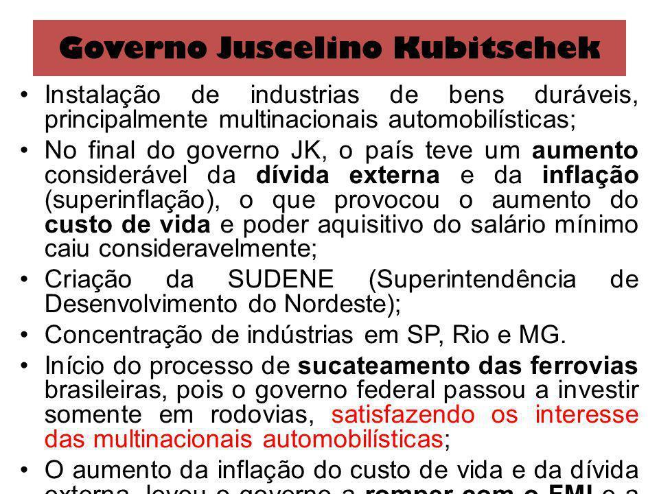 Governo Juscelino Kubitschek Instalação de industrias de bens duráveis, principalmente multinacionais automobilísticas; No final do governo JK, o país