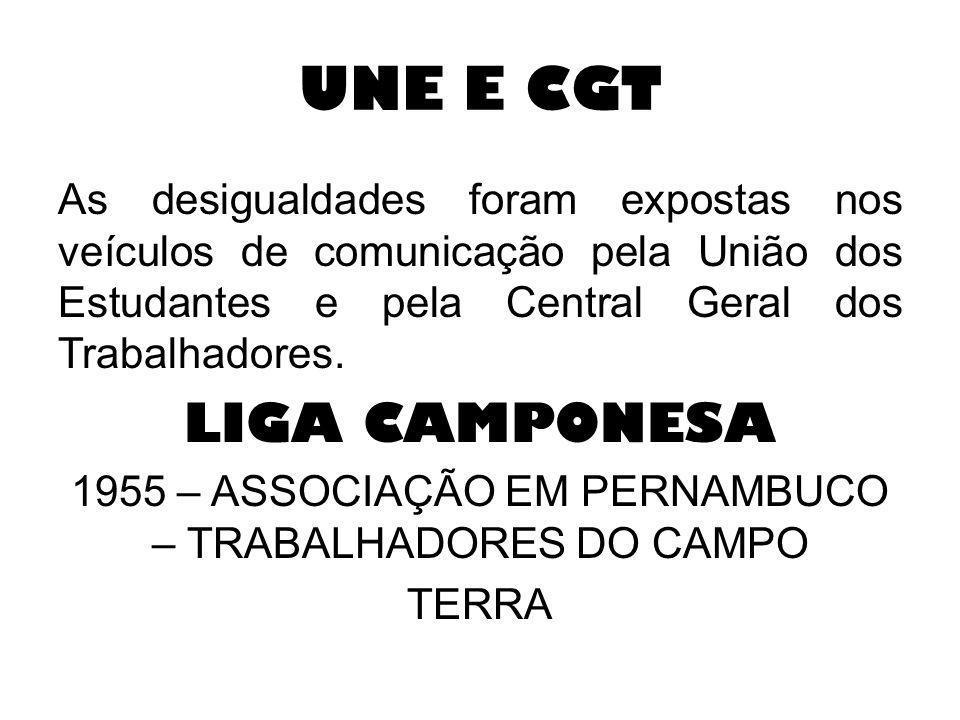 UNE E CGT As desigualdades foram expostas nos veículos de comunicação pela União dos Estudantes e pela Central Geral dos Trabalhadores. LIGA CAMPONESA