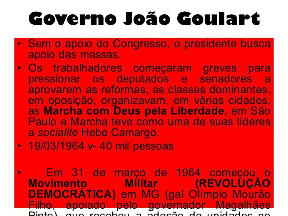 Governo João Goulart Sem o apoio do Congresso, o presidente busca apoio das massas. Os trabalhadores começaram greves para pressionar os deputados e s