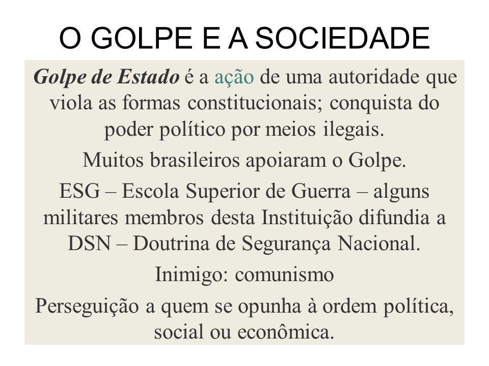 O GOLPE E A SOCIEDADE Golpe de Estado é a ação de uma autoridade que viola as formas constitucionais; conquista do poder político por meios ilegais. M