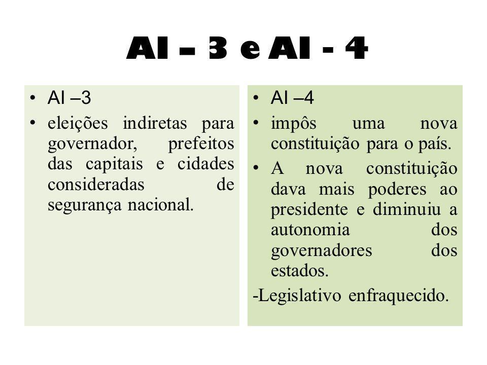 AI – 3 e AI - 4 AI –3 eleições indiretas para governador, prefeitos das capitais e cidades consideradas de segurança nacional. AI –4 impôs uma nova co