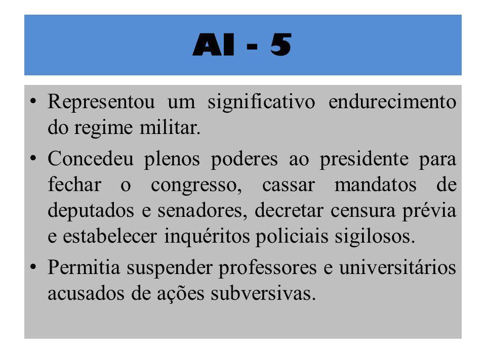 AI - 5 Representou um significativo endurecimento do regime militar. Concedeu plenos poderes ao presidente para fechar o congresso, cassar mandatos de