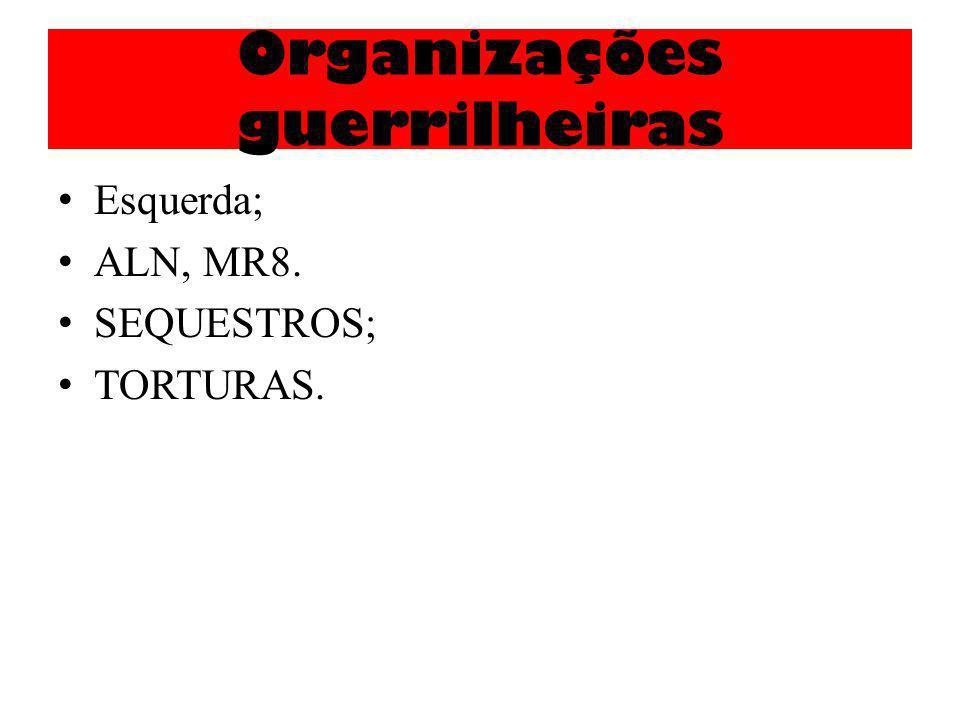 Organizações guerrilheiras Esquerda; ALN, MR8. SEQUESTROS; TORTURAS.