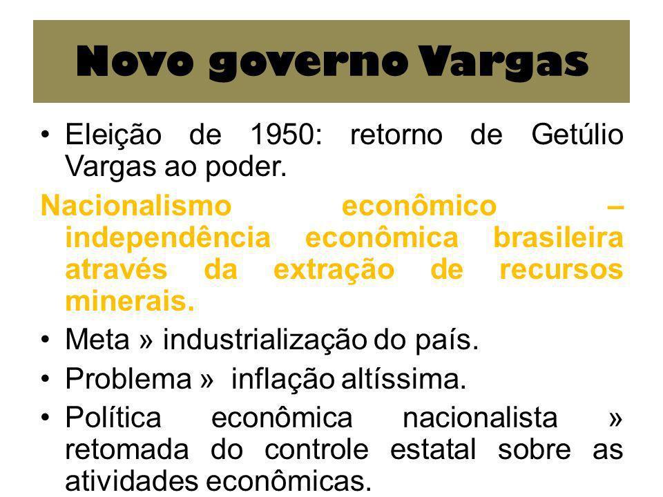 Novo governo Vargas Eleição de 1950: retorno de Getúlio Vargas ao poder. Nacionalismo econômico – independência econômica brasileira através da extraç