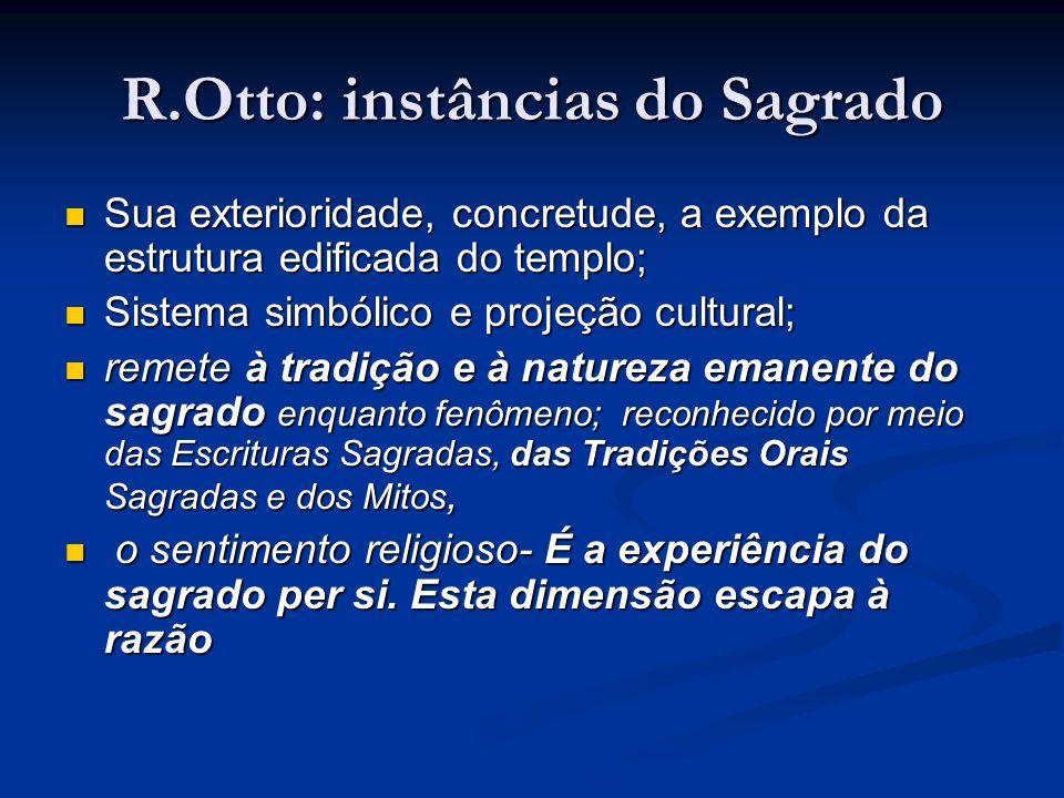 R.Otto: instâncias do Sagrado Sua exterioridade, concretude, a exemplo da estrutura edificada do templo; Sistema simbólico e projeção cultural; remete