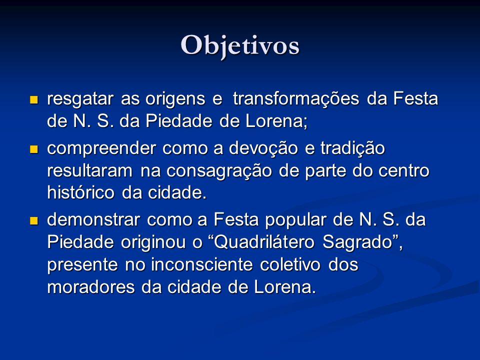 Objetivos resgatar as origens e transformações da Festa de N. S. da Piedade de Lorena; resgatar as origens e transformações da Festa de N. S. da Pieda