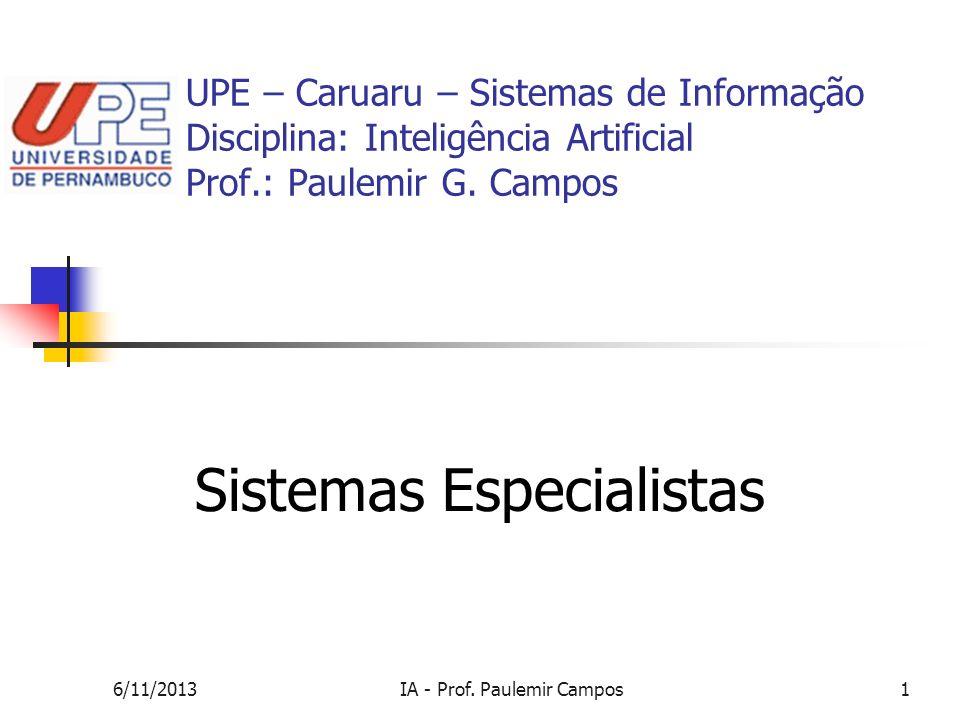 6/11/2013IA - Prof. Paulemir Campos1 UPE – Caruaru – Sistemas de Informação Disciplina: Inteligência Artificial Prof.: Paulemir G. Campos Sistemas Esp