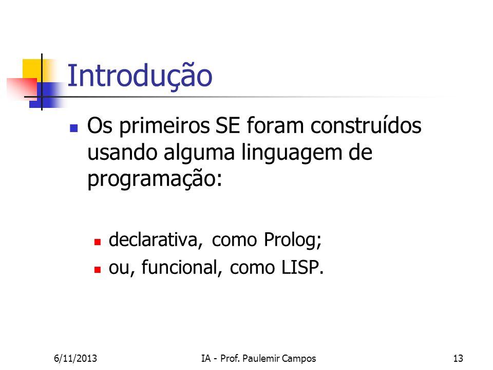 6/11/2013IA - Prof. Paulemir Campos13 Introdução Os primeiros SE foram construídos usando alguma linguagem de programação: declarativa, como Prolog; o