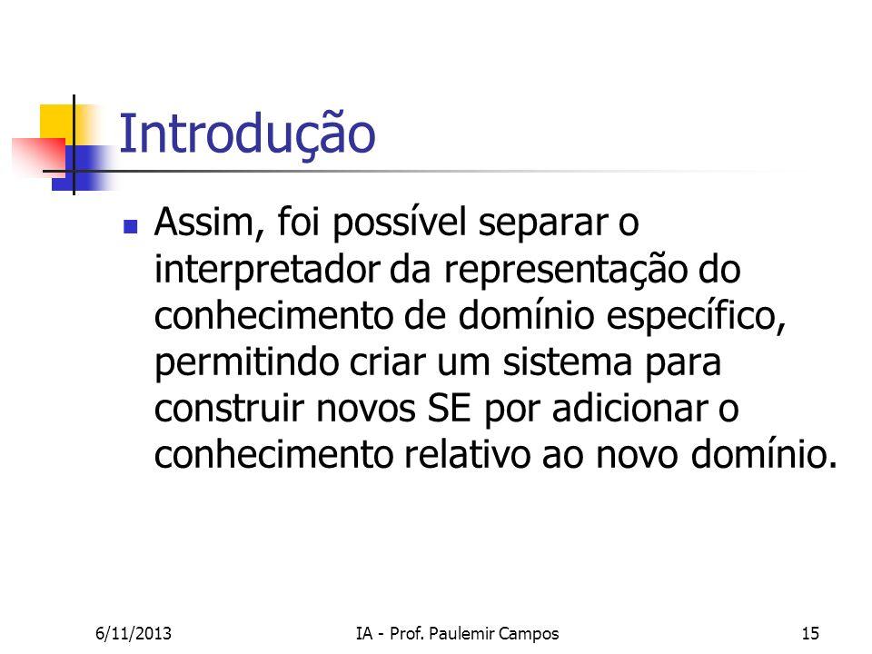 6/11/2013IA - Prof. Paulemir Campos15 Introdução Assim, foi possível separar o interpretador da representação do conhecimento de domínio específico, p