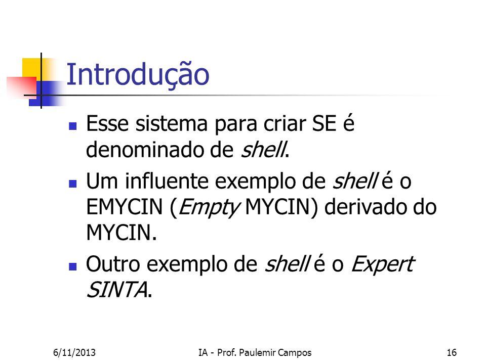 6/11/2013IA - Prof. Paulemir Campos16 Introdução Esse sistema para criar SE é denominado de shell. Um influente exemplo de shell é o EMYCIN (Empty MYC