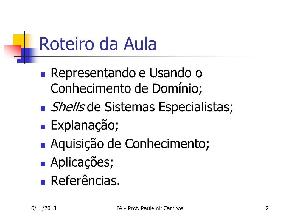 6/11/2013IA - Prof. Paulemir Campos2 Roteiro da Aula Representando e Usando o Conhecimento de Domínio; Shells de Sistemas Especialistas; Explanação; A