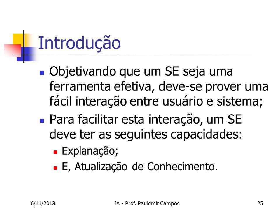 6/11/2013IA - Prof. Paulemir Campos25 Introdução Objetivando que um SE seja uma ferramenta efetiva, deve-se prover uma fácil interação entre usuário e