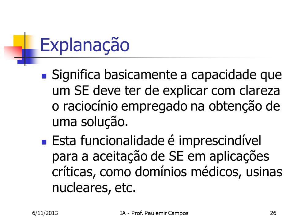6/11/2013IA - Prof. Paulemir Campos26 Explanação Significa basicamente a capacidade que um SE deve ter de explicar com clareza o raciocínio empregado
