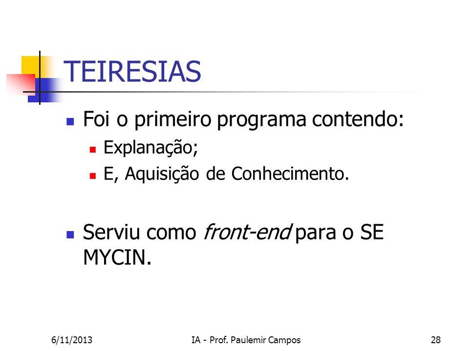 6/11/2013IA - Prof. Paulemir Campos28 TEIRESIAS Foi o primeiro programa contendo: Explanação; E, Aquisição de Conhecimento. Serviu como front-end para