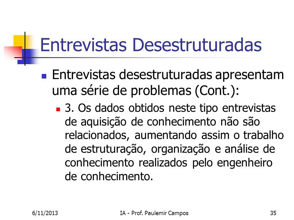 6/11/2013IA - Prof. Paulemir Campos35 Entrevistas Desestruturadas Entrevistas desestruturadas apresentam uma série de problemas (Cont.): 3. Os dados o