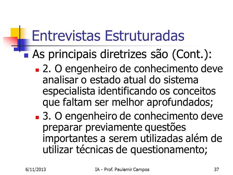 6/11/2013IA - Prof. Paulemir Campos37 Entrevistas Estruturadas As principais diretrizes são (Cont.): 2. O engenheiro de conhecimento deve analisar o e