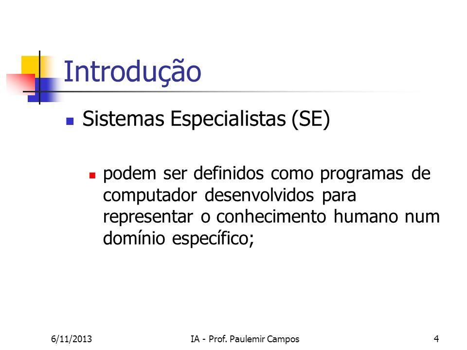 6/11/2013IA - Prof. Paulemir Campos4 Introdução Sistemas Especialistas (SE) podem ser definidos como programas de computador desenvolvidos para repres