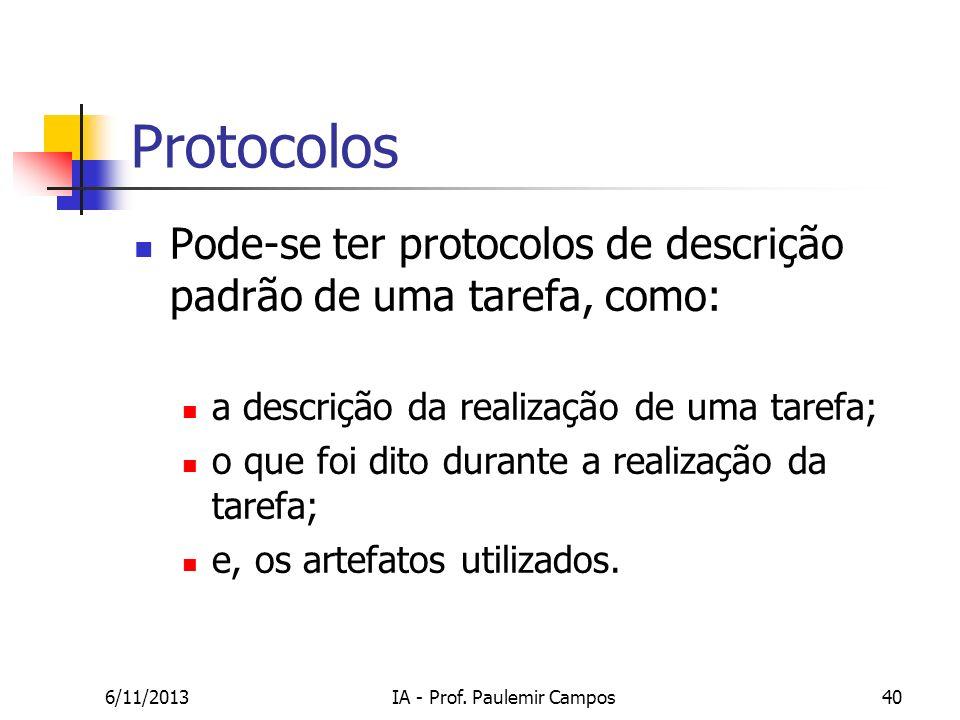 6/11/2013IA - Prof. Paulemir Campos40 Protocolos Pode-se ter protocolos de descrição padrão de uma tarefa, como: a descrição da realização de uma tare