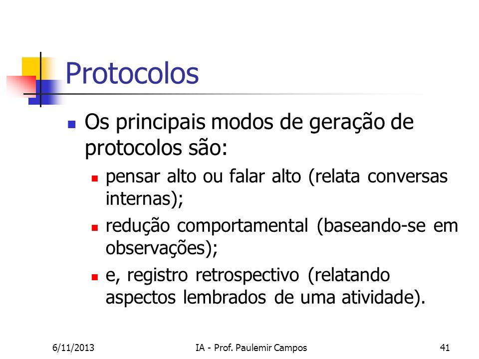 6/11/2013IA - Prof. Paulemir Campos41 Protocolos Os principais modos de geração de protocolos são: pensar alto ou falar alto (relata conversas interna