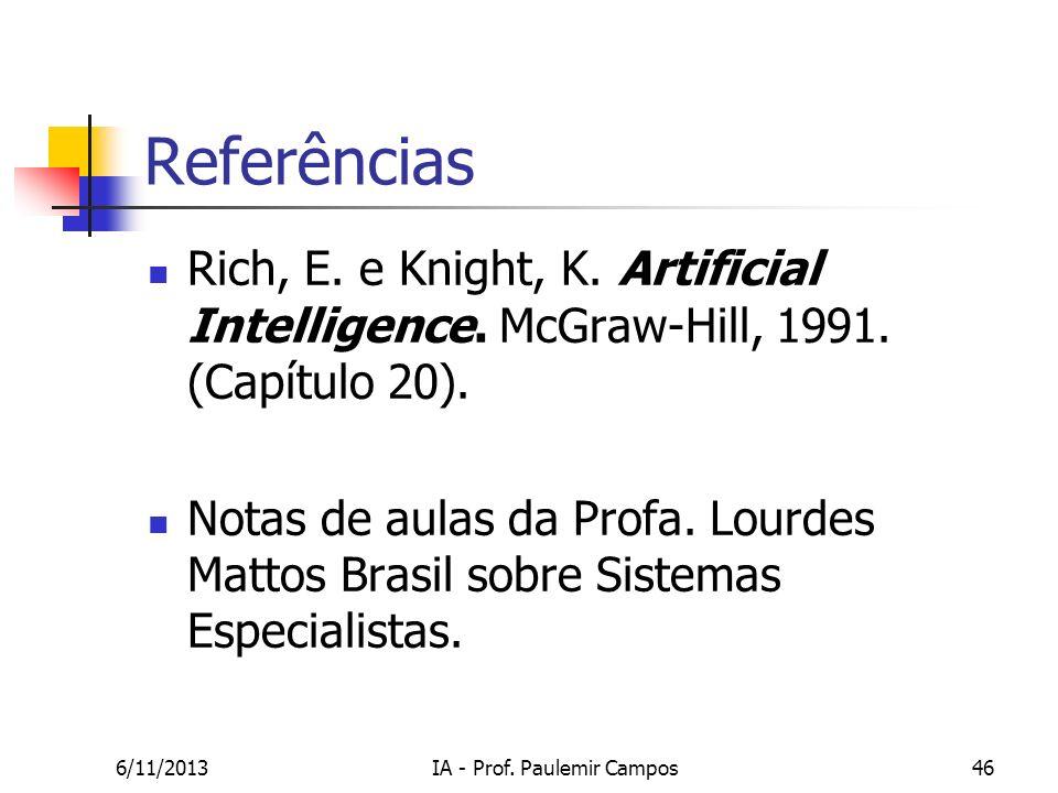 6/11/2013IA - Prof. Paulemir Campos46 Referências Rich, E. e Knight, K. Artificial Intelligence. McGraw-Hill, 1991. (Capítulo 20). Notas de aulas da P